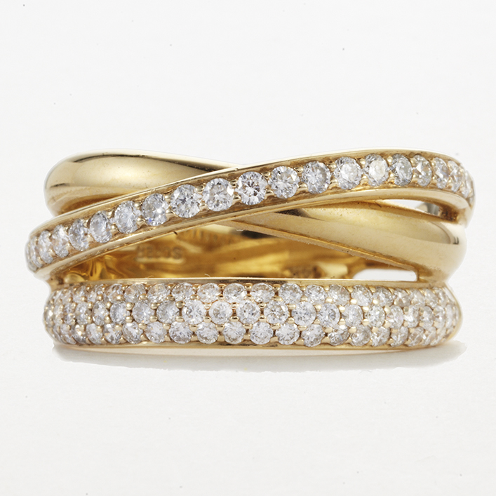 14 KARAT YELLOW GOLD OVERLAPPING BANDS AND DIAMOND BAND
