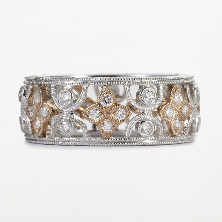 PLATINUM, ROSE GOLD AND DIAMOND BAND
