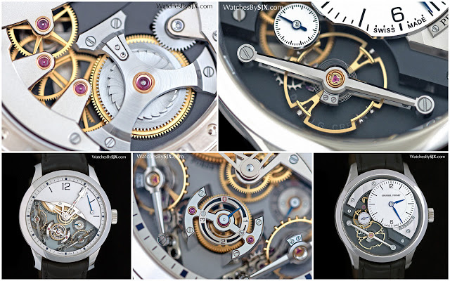 Best known as a specialist in exquisite, exotic and expensive tourbillons, Greubel Forsey introduced its first ever time-only wristwatch at SIHH 2016 - a sign of the times perhaps. Named the Signature 1, this entry-level wristwatch is hand-wound and features an extra-large balance wheel, and is naturally decorated to the usual exceptional standard typical of Greubel Forsey.   Priced at SFr155,000 in stainless steel, less than half the next most affordable Greubel Forsey watch, the Signature 1 is the brainchild of Didier J.G. Cretin, a watchmaker at the brand whose name is engraved below the balance. The Signature 1 is the first in a planned series of watches that will each be conceived by a watchmaker at Greubel Forsey.   As a wristwatch the Signature 1 is simple but elaborately constructed from expensive materials. The dial for example is solid gold, while the hands - hours, minutes and seconds - have countersunk centres polished to a mirror finish by hand. And the balance bridge is long and carefully shaped, with wide, polished bevels along its length. Even the escape wheel bridge is solidly and carefully crafted.   The view from the back is also impressive, with details like an open-worked bridge for the barrel, as well as jewels set in gold chatons.   At 41.4 mm in diameter the Signature 1 is a large watch, but feels small by Greubel Forsey standards. And in steel it is surprisingly lightweight, again in contrast to the usual heft of a Greubel Forsey wristwatch. As finely put together as it is, the Signature 1 is still an entry-level Greubel Forsey, a compromise of sorts.    The average high roller who can afford a Greubel Forsey tourbillon - a president-for-life or Forbes lister - does not need an entry-level Greubel Forsey (except to give away). Those who wallets make such a watch a necessity, however, have other watches to consider, like a Voutilainen Vingt-8 for instance.   Limited to 11 pieces each in steel, red and white gold, the Signature 1 is priced at SFr155,000 before taxes, and in red or white gold it's about ten percent more.    The other new wristwatch unveiled by Greubel Forsey is more typical of the brand. The Double Balancier à Differential Constant features twin, inclined balance wheels linked by a differential that averages out the rate of the two. It is essentially a variant of the Double Balancier 35° unveiled in 2013, with the intricacies of the twin regulators and differential revealed.   The dial is a pleasing juxtaposition of a plain half-dial with a power reserve indicator, with the rest removed to expose the two balance wheels. This allows all the beautifully finished components to be admired from multiple angles.   All the is on the front, with the back being a single plate with a frosted finish that is a signature of the brand.   Limited to 33 pieces in a 43 mm white gold case, the Double Balancier is priced at SFr350,000.