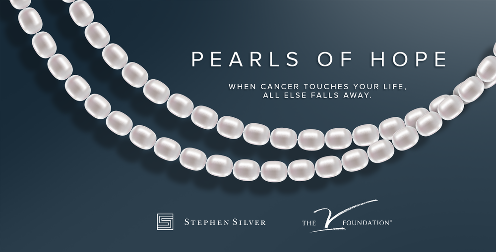 "Stephen Silver will be selling 64"" strands of freshwater pearls as a part of their Pearls of Hope campaign.  All proceeds will benefit the V Foundation."