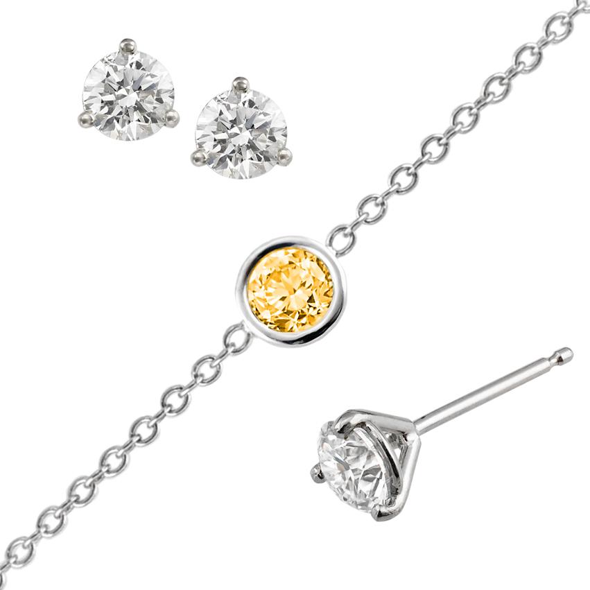 Diamonds, sapphire and sample settings