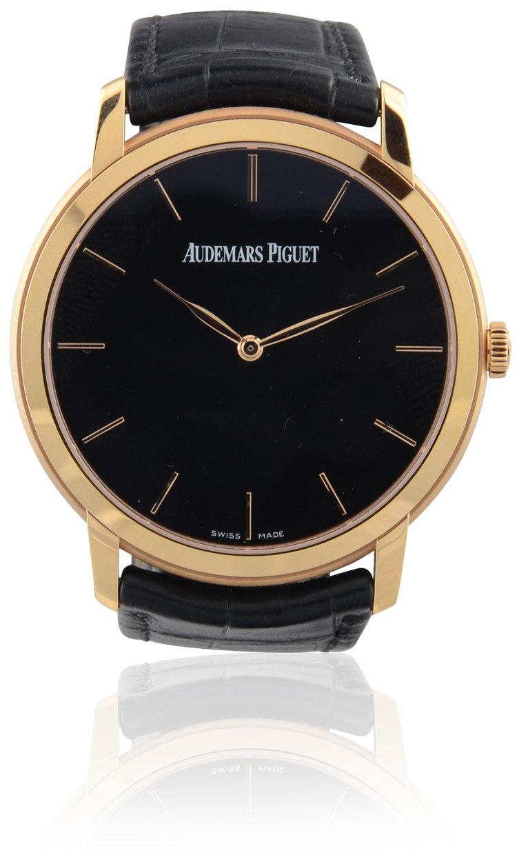 Audemars Piguet Jules Audemars Extra Thin Pink Gold Black Dial Almar