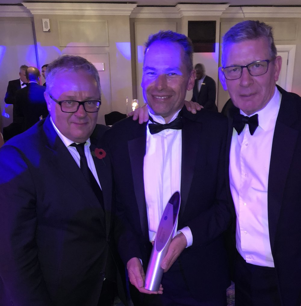Winners - Long and Partners very own Neil Blundy with Peter Matcham of Make Architects and Phil Hilton of Mace.