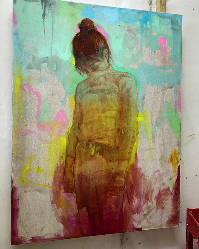 I usually skip over posting this early stage in the process, so I wanted to pause and show the different ways I construct and deconstruct the image with layers of color. Much of this existing, bright color will end up peeking through the top desaturated layers in the final work.  #wip #oilpainting #fredrixcanvas #gamblincolors