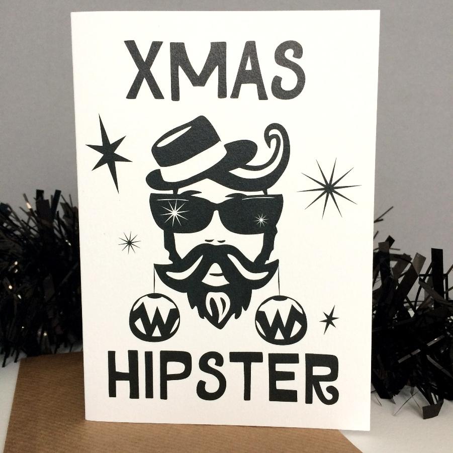 Xmas Hipster greetings card by Lou Boyce