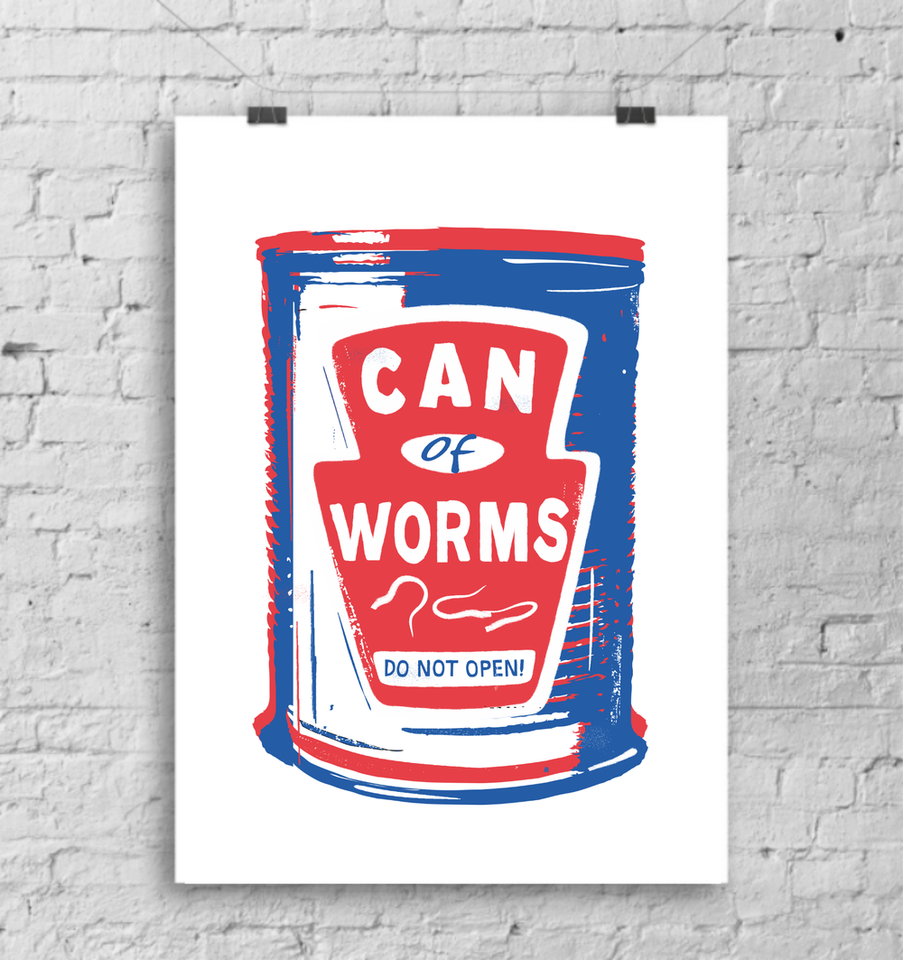 Can of Worms red white and blue