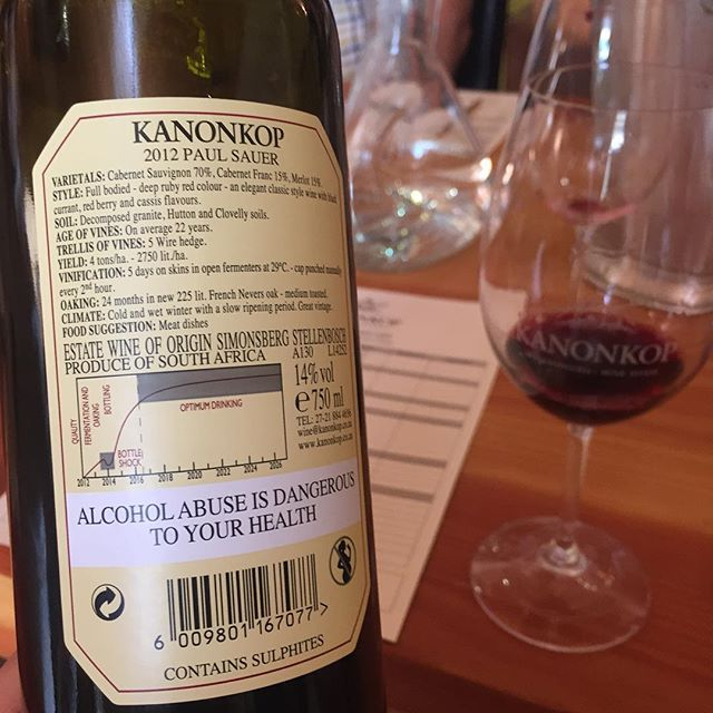 Very cool idea from @kanonkopwineestate - publishing optimum drinking Windows on their wines 👍