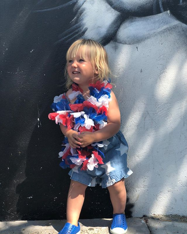 Despite things going on in and outside our country, feeling very patriotic today and encouraged that @kylejforrest and I are raising a strong young woman who will change the world 🇺🇸 (I may or may not have cried several times during the parade 🤷♀️) #isabelkyleforrest #julyfourth