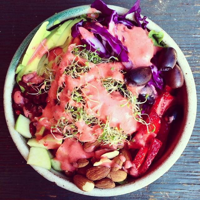 Super sexy salad with strawberry dressing. Photo courtesy of  Summer Sanders.