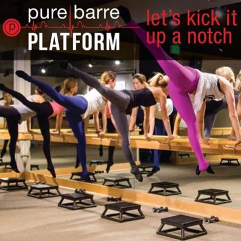 Step up your fitness game with Pure Barre's intense new cardio Platform class. Bring your sticky socks, water and a towel... trust me! You'll sweat and work muscles you didn't even know you had!