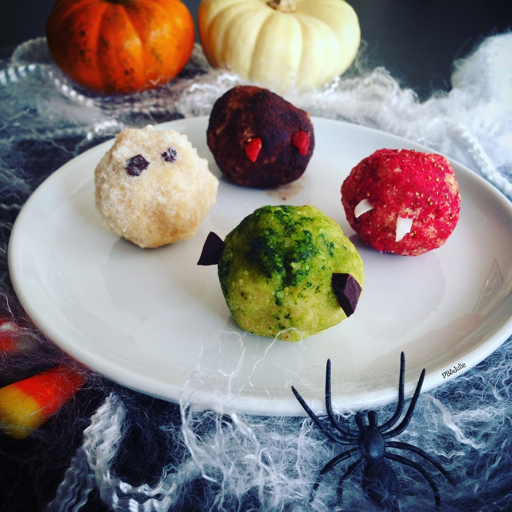 "{Almost} Raw and entirely vegan Halloween Bites in ""Boo"", ""Bat"", ""Dracula"" and ""Frankenstein"" Fun and easy way to celebrate the Halloween fun!"