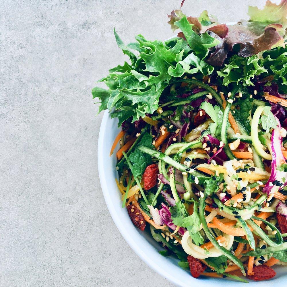 Tangled veggies dressed in a light miso sesame dressing #vegan