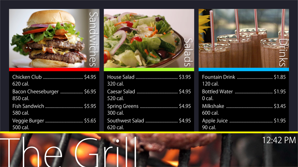 Menu graphics, pictures and text are easily updated.