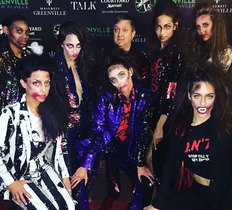 Greenville Fashion Week April 2018 with Designer Andrew Clancey of Any Old Iron and models from his zombie-inspired show.