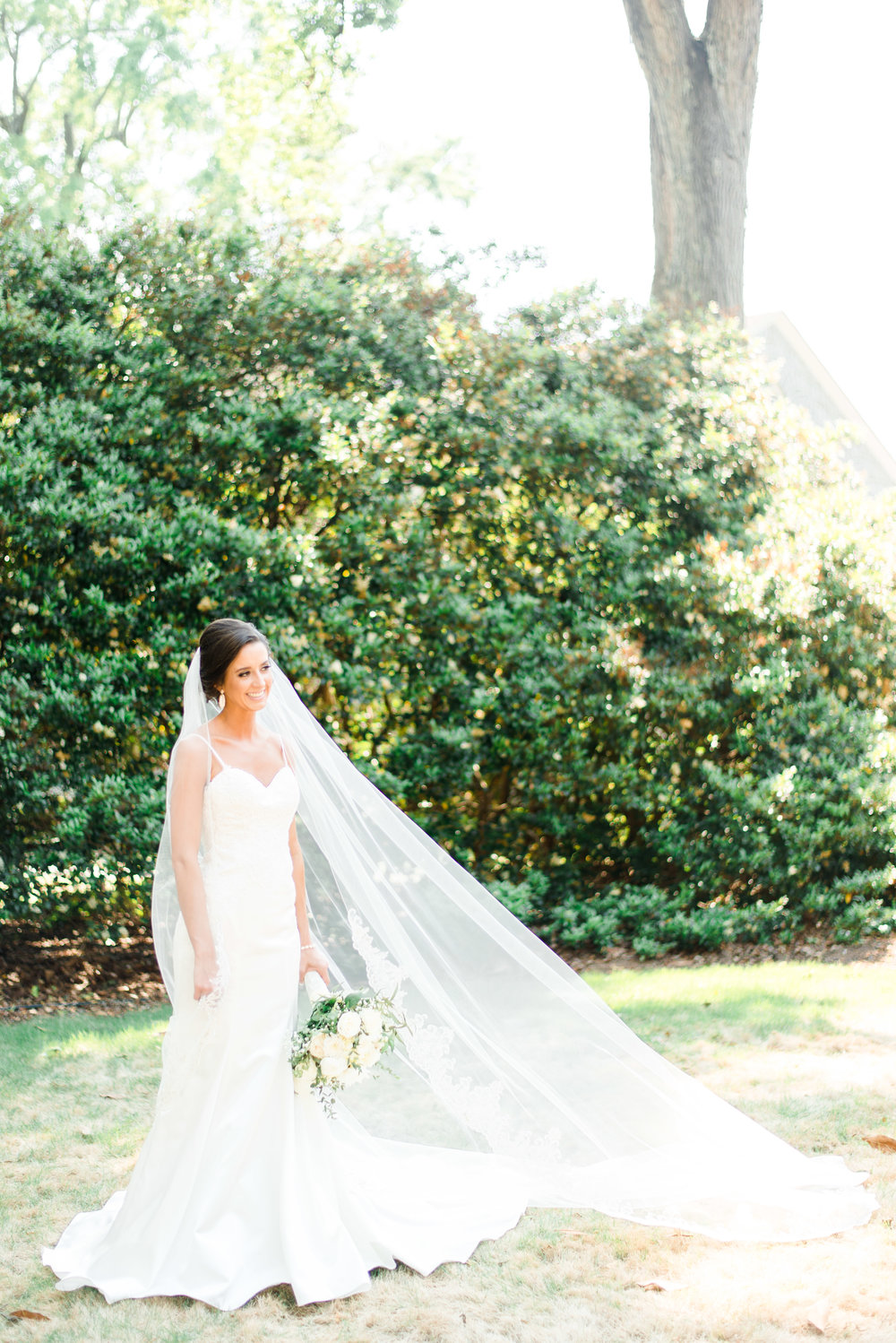 Bride Megan on her wedding day in the Midlands of South Carolina.
