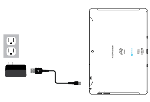 Connect the power adapter to a wall outlet, then to the tablet's micro USB port as shown. A battery status indicator appears in the lower right corner in the lower right corner of the screen,so you can tap to view the current battery level and screen brightness.