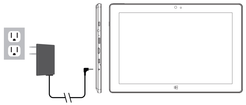 Connect the power adapter to a wall outlet, then to the Tablet as shown. It is recommended to fully charge the battery before first use. A battery status indicator appears in the lower left corner. Tap the battery icon to view percentage of remaining power.   NOTE : It takes approximately 2-3 hours to fully recharge the battery from a depleted state. It is normal for the tablet to feel warm while recharging and during use. Actual play times will vary depending on display settings, apps that remain open, and your internet usage.