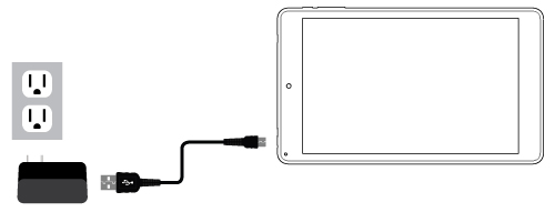 Connect the power adapter to a wall outlet, then to the tablet's micro USB port as shown. It is recommended to fully charge the battery before first use. A battery status indicator appears in the lower right corner of the Task Bar. Tap to view the current battery level, time remaining, brightness control, and settings for power and sleep modes.  It is normal for the tablet to become warmer while charging, streaming video, or multi-tasking. Battery life between charges will vary depending on display brightness, apps that remain open, and most importantly, your internet use. For example, streaming movies from the internet will consume more battery resources than most other applications.