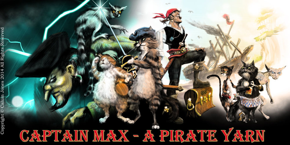 Original cast of characters for Captain Max: A Pirate Yarn                                                             Copyright Calum Jones 2014