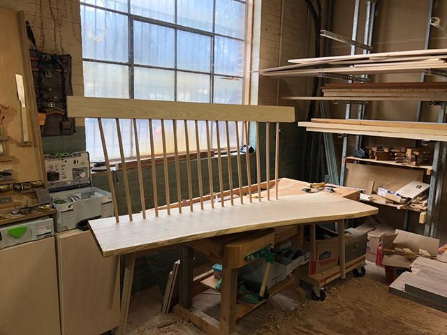 Starting to get productive in the new shop. Major components of this new live-edge bench are done. Maybe just lighten up the shape of that top rail