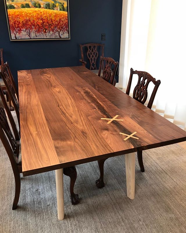 Walnut dining table project complete and installed. A nice contrast with the more traditional chairs