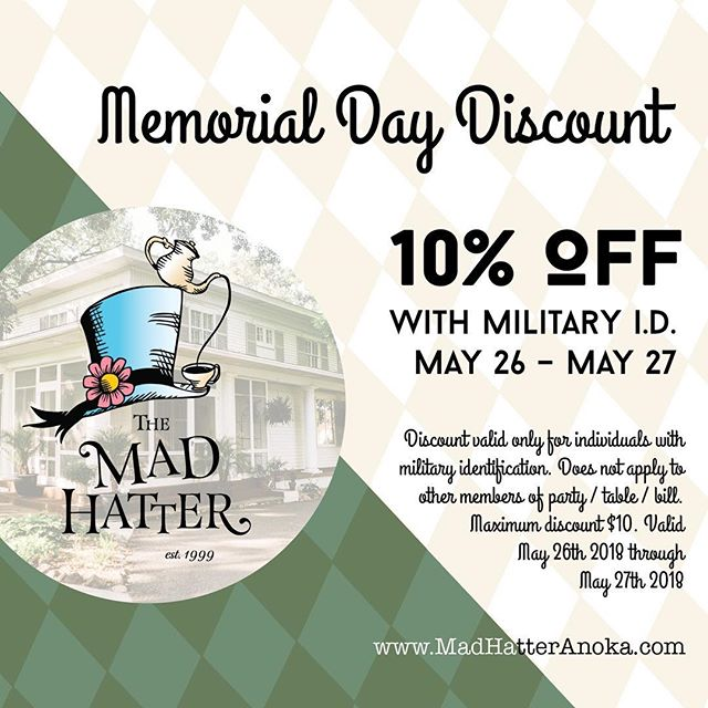 Happy Memorial Day Weekend! Thank you to all who have served. Please be sure to show your military ID this weekend for 10% off your meal.