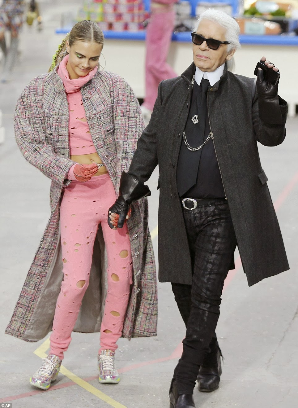 Karl Lagerfeld and Cara Develigne at Chanel