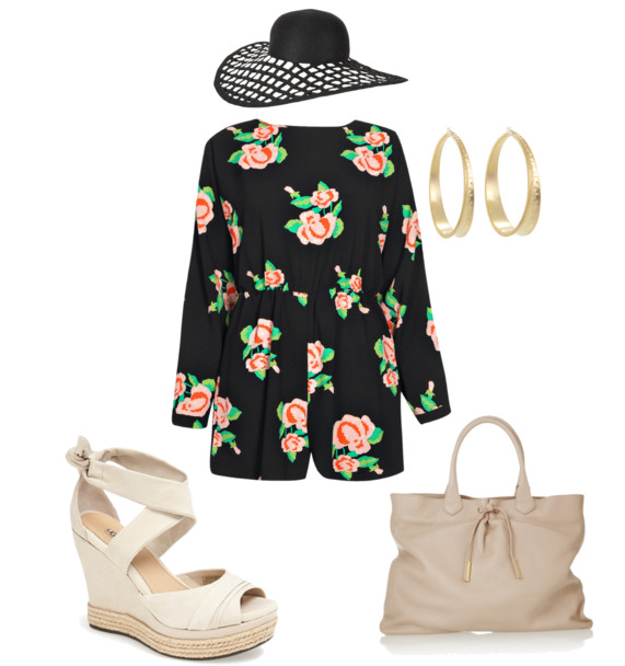 how-to-style-a-romper-floppy hat-ugg-wedges-carry all purse-burberry-boohoo-eugenia-fashion-ootd-demi styles-fashionado