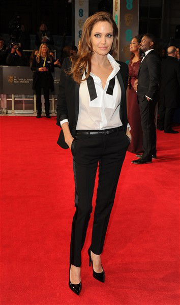 Angelina Jolie in Saint Laurent at the EE British Academy Film Awards