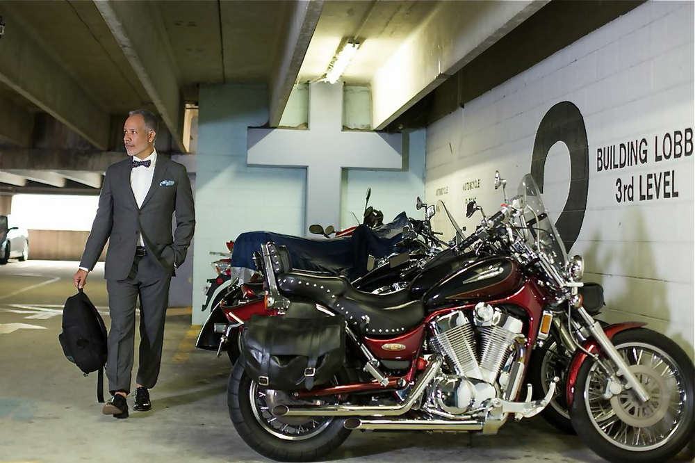 Suits & Motorcycles photo shoot with Tomas Espinoza. Wearing Banana Republic.
