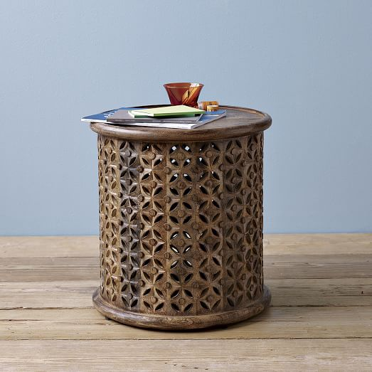Carved Wood Side Table – West Elm