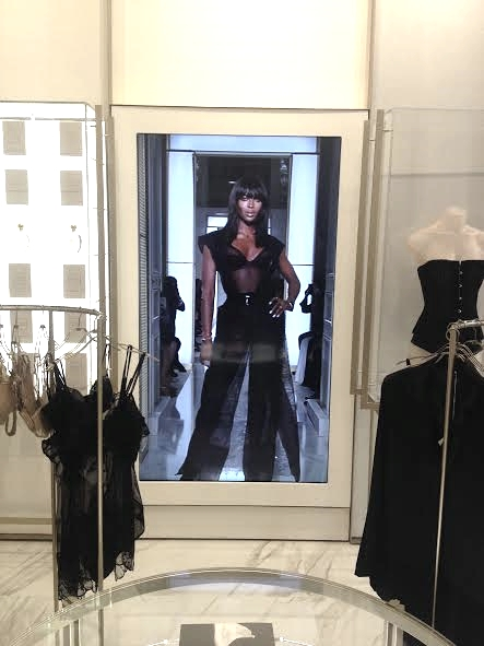 The La Perla showroom has a life-sized screen that plays their latest runway shows from Paris and Florence. It comes through on a live feed from Italy! And yes darlings, that's Miss Naomi Campbell, supermodel!