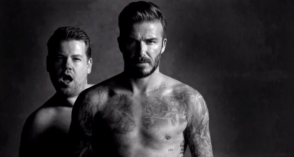 david beckham james corden underwear parody
