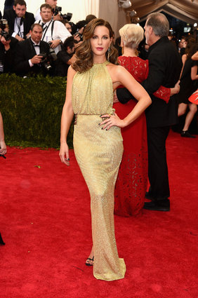 Kate Beckinsale in a golden DVF.