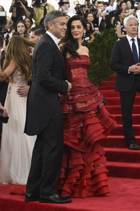 George Clooney in Armani & Amal in Maison Margiela. My fave couple of the night.