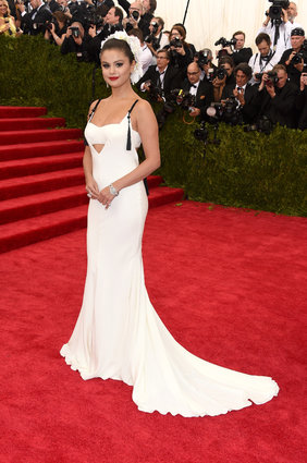Selena Gomez in Vera Wang bridal. Maybe not bridal, but looks it.