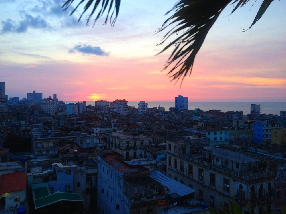 Sunset view from the roof top of the Parque Central Hotel in Old Havana.
