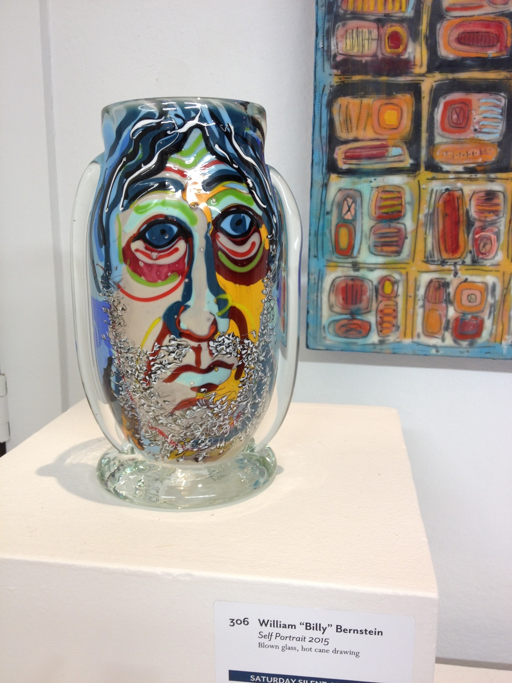"William ""Billy"" Bernstein     Self Portrait 2015    Blown glass, hot cane drawing"