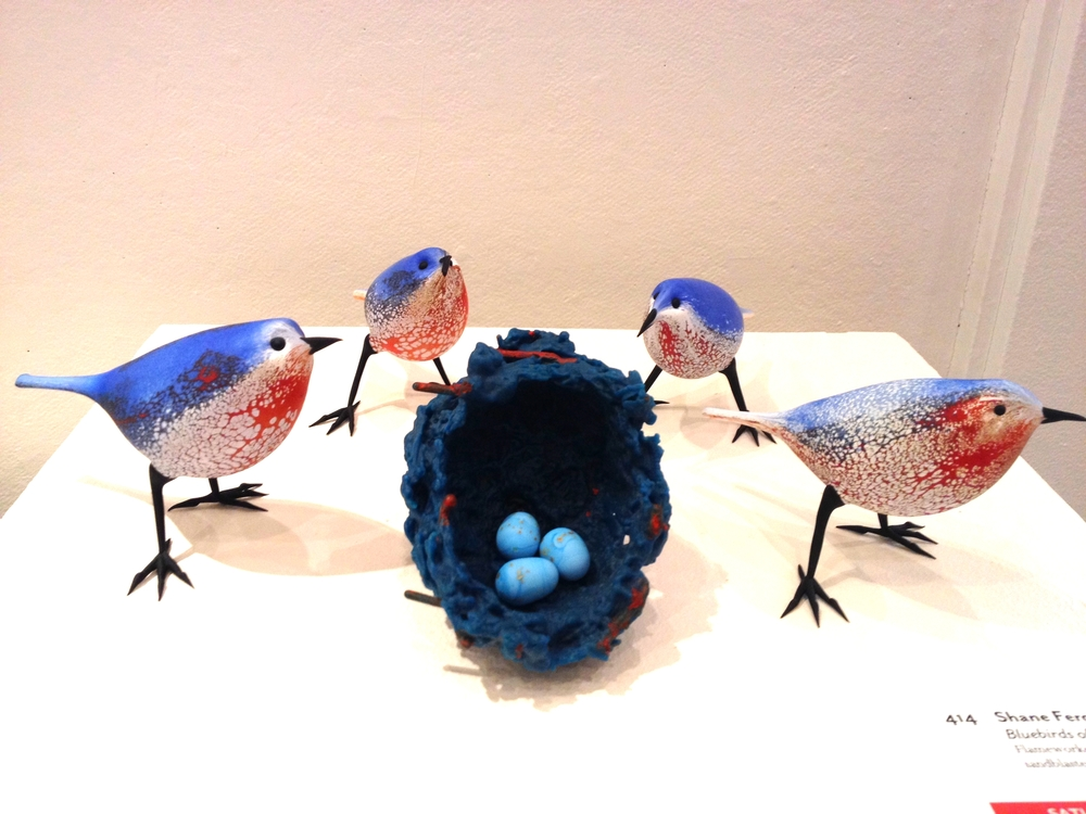 Shane Fero     Bluebirds of Penland Meadow    Flameworked glass, cast glass, sandblasted and acid etched