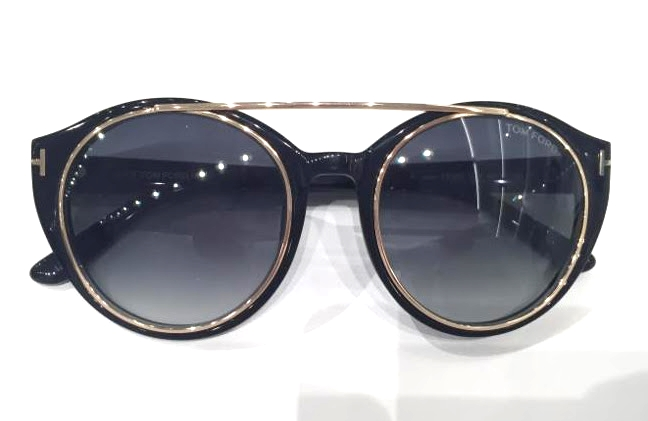 Tom Ford       Shiny Black Acetate Sunglasses with Gradient Blues Lenses