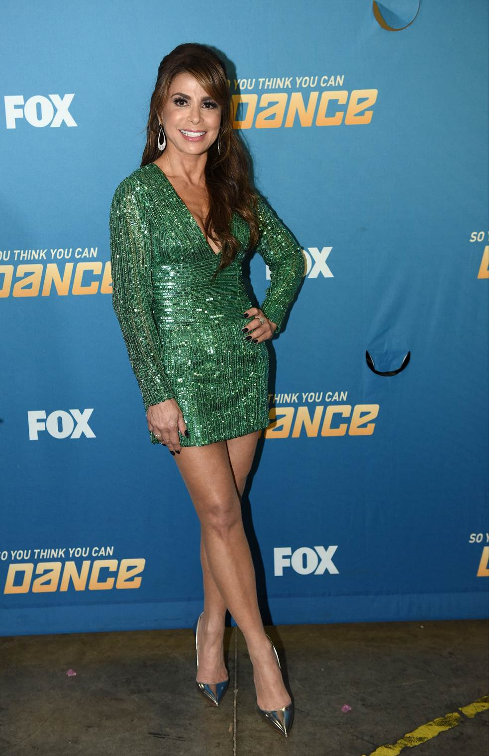Paula Abdul     Dress: Aiisha   Shoes: Christian Louboutin  Jewelry: Young's Fine Jewelry  Nails: Merricures