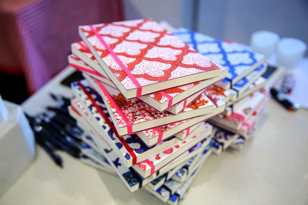 Journals with a block print pattern design.