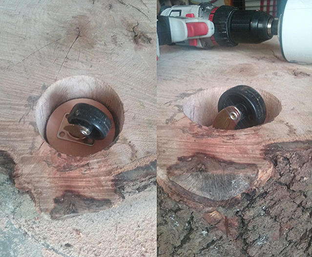 After sanding, I bored out holes in the bottom of the stumps to flush mount the castor wheels. These castor wheels were 1 ¾ inch and can support up to 50lbs each. I used a 3¼ inch hole cutting drill bit to get my outer diameter, then used a series of different sized wood bits to get rid of the insides. Once I had a flush surface on the inside of the holes, I cut different thicknesses of plywood with the same 3 ¼ bit to get the tops of the tables level with the floor ( logs cut with chainsaws will never be completely clean and level, so I had to do the leveling with the wheels ).