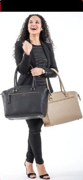 Sasha Fridy with both Harmon Bags