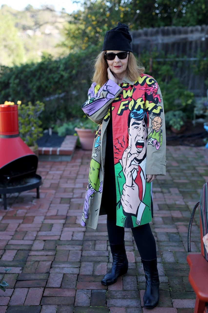 CARTOON coat on Suzan Pitt /  photo by Ari Seth Cohen