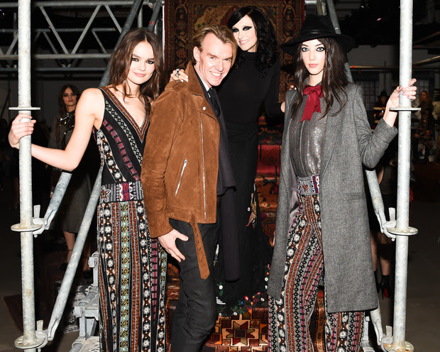 Ken Downing, Senior Vice President and Fashion Director of Neiman Marcus with Stacey Bendet, CEO and Creative Director of alice + olivia at the alice + olivia Fall 2016 presentation during New York Fashion Week.