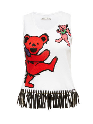 alice + olivia X Grateful Dead: Dancing Bear Tank with Fringe, Retail: $275