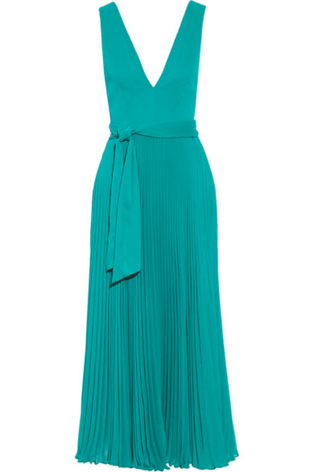 RYN DEEP V-NECK MIDLENGTH PLEATED DRESS WITH TIE BELT