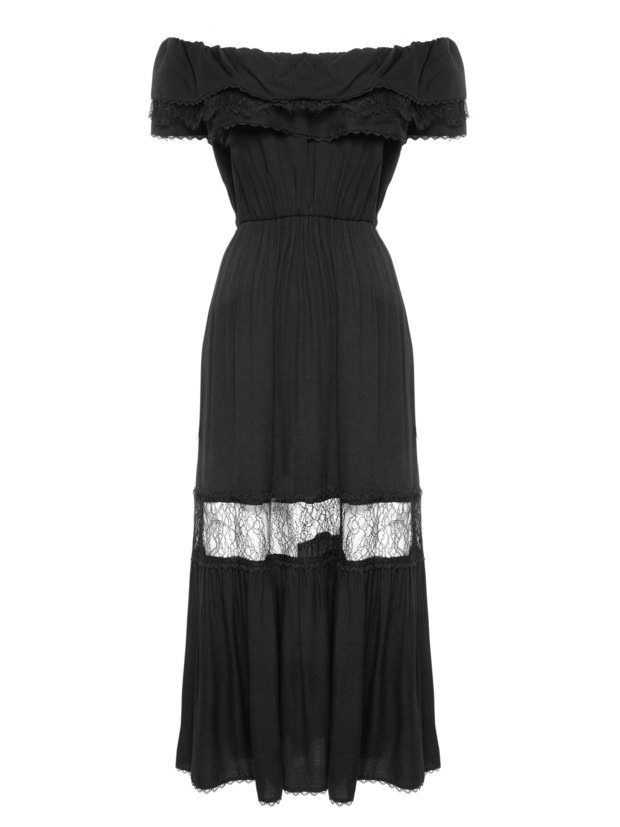 LITA RUFFLE MIDLENGTH DRESS WITH TIE BELT