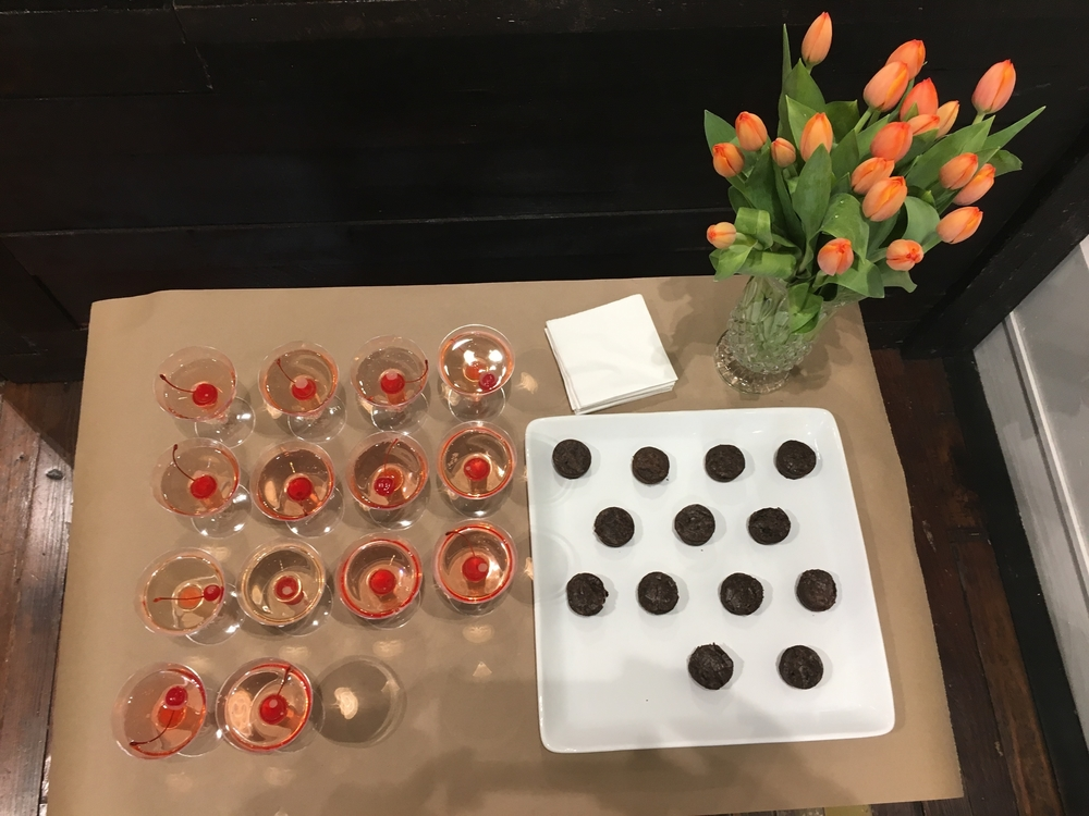 champagne, brownies & tulips at Billy Reid...